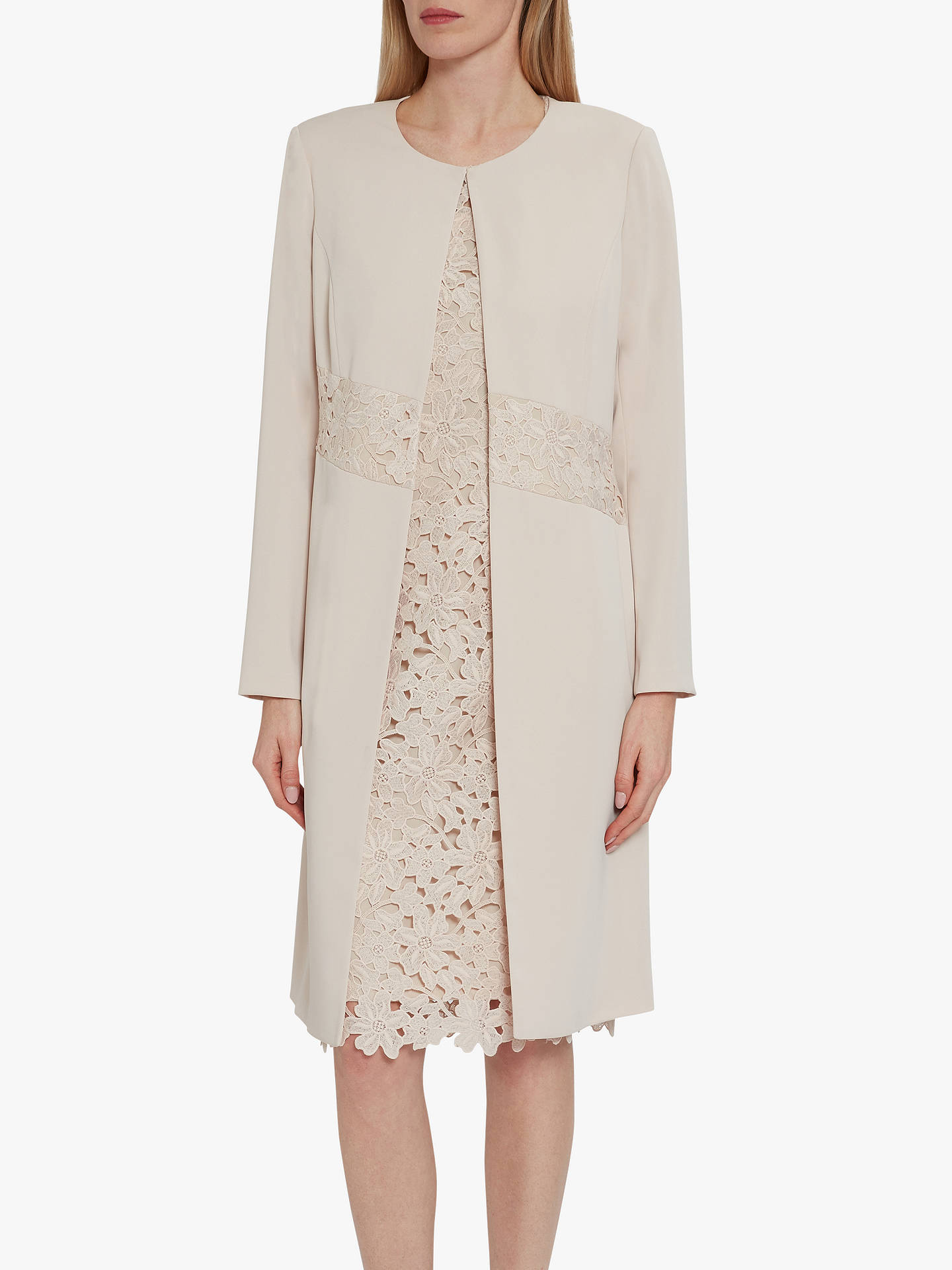 Buy Gina Bacconi Lacey Crepe Coat, Antique Rose, 10 Online at johnlewis.com