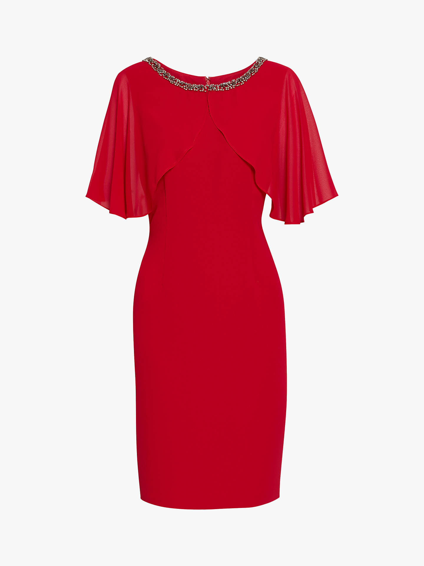 Buy Gina Bacconi Sabella Beaded Dress, Red, 18 Online at johnlewis.com