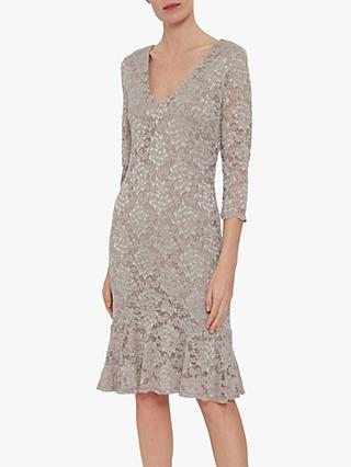 Gina Bacconi Nadalie Tailored Lace Dress, Champagne