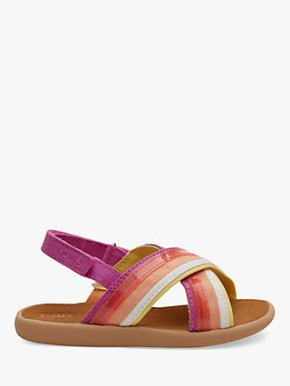 TOMS Children's Viv Stripe Sandals, Pink Multi