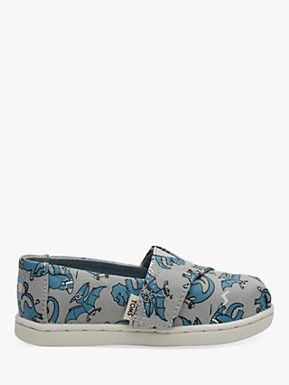 TOMS Children's Alpagartas Dinosaur Canvas Shoes, Grey