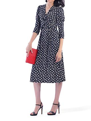 Jolie Moi Printed Knot Front Dress, Black Leafy