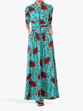 Jolie Moi Tie Collar Floral Maxi Dress, Teal Floral