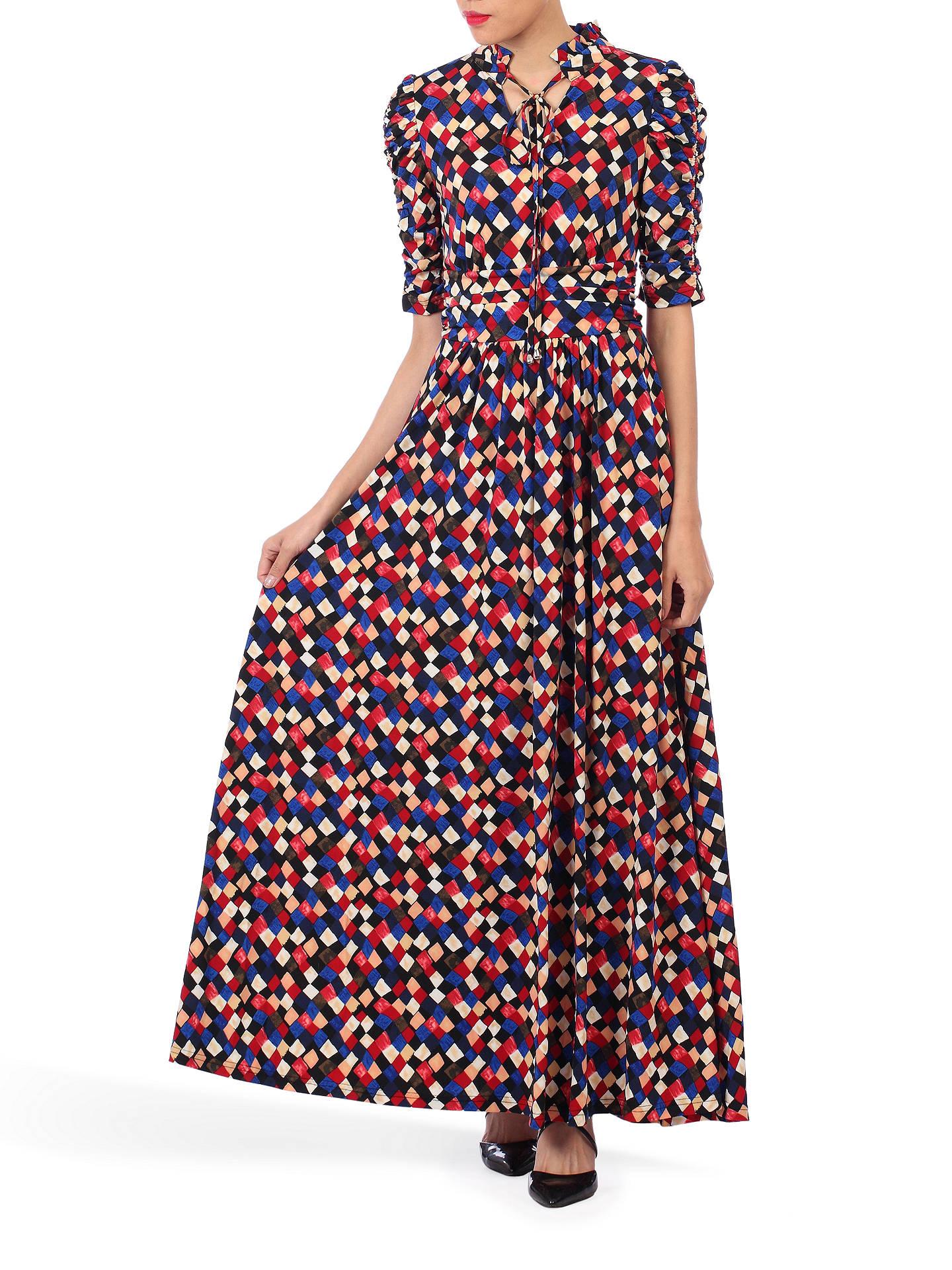 939bc57d81 Buy Jolie Moi Tie Collar Maxi Dress, Black Geo, 10 Online at johnlewis.