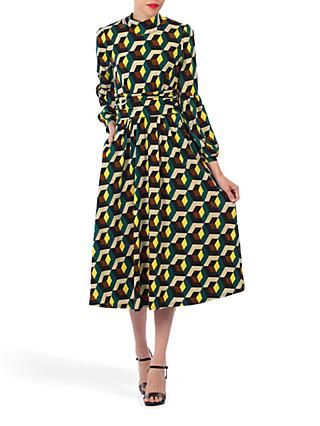 Jolie Moi Geometric Print Turtleneck Midi Dress