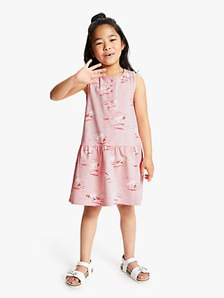 John Lewis & Partners Girls' Island Print Dress, Pink