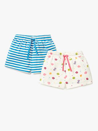 John Lewis & Partners Girls' Shell Print Shorts, Pack of 2, Blue/Multi