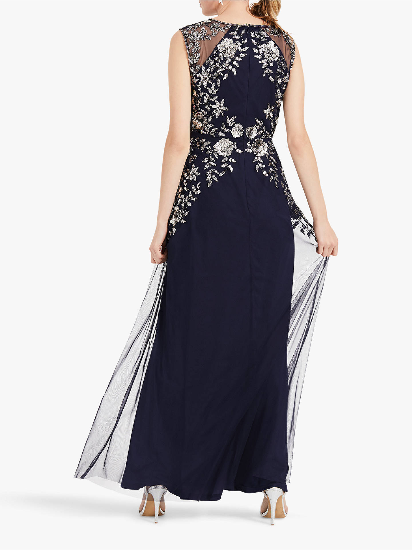 new high best service reliable reputation Phase Eight Viviana Embellished Tulle Maxi Dress, Navy/Silver