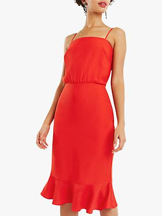 Oasis Satin Midi Dress Short, Mid Red