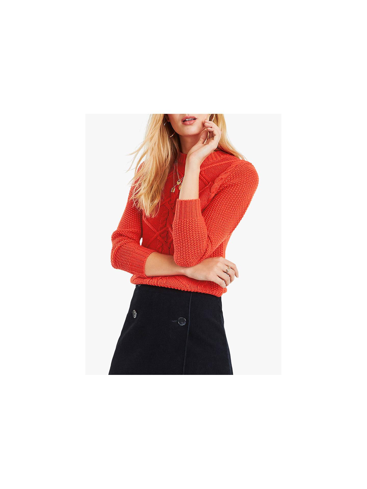 df9bc1b67178 Buy Oasis Nyla Cable Knit Jumper, Bright Orange, S Online at johnlewis.com  ...