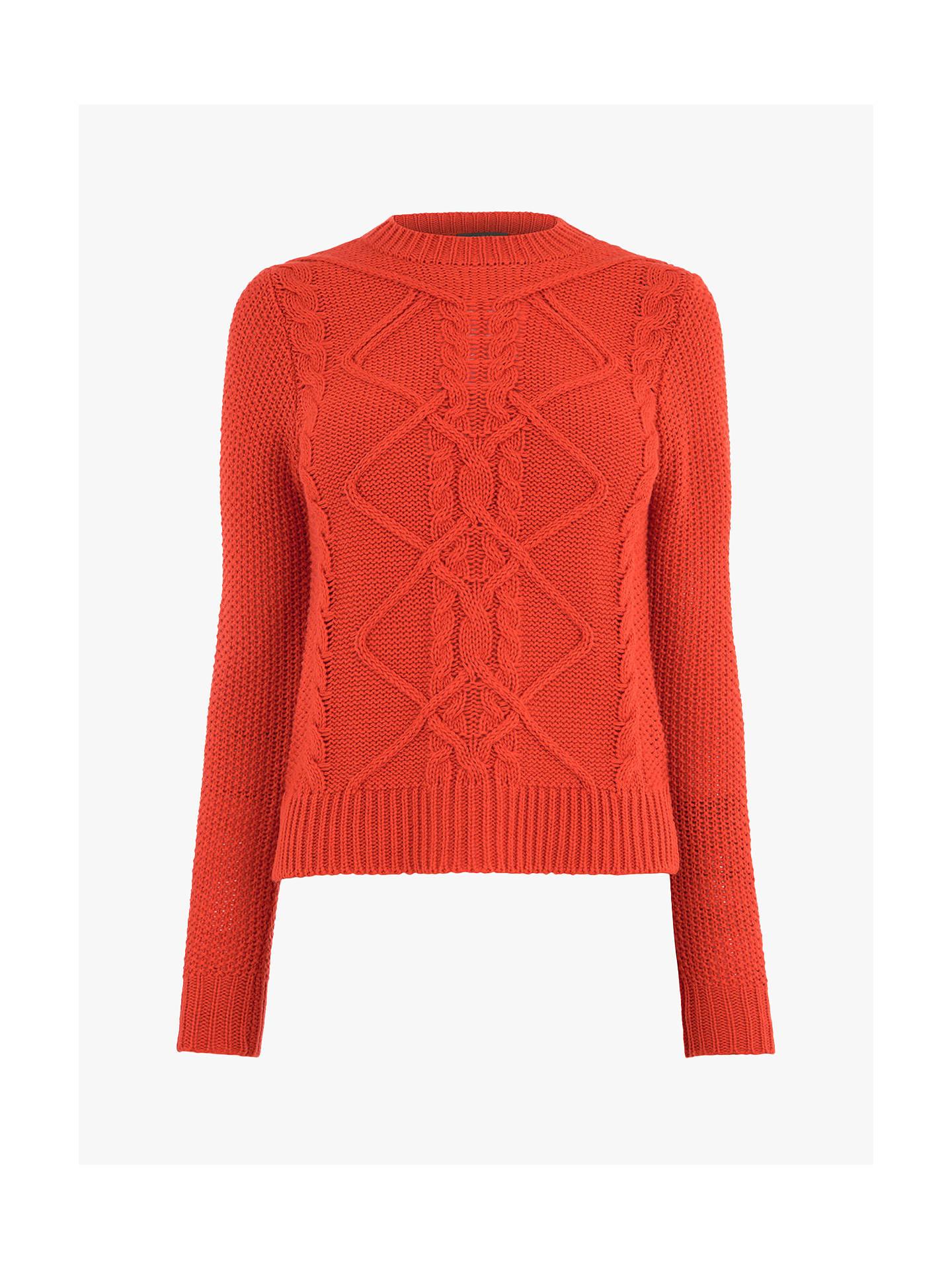 324fca8b3d43 ... Buy Oasis Nyla Cable Knit Jumper, Bright Orange, S Online at  johnlewis.com ...