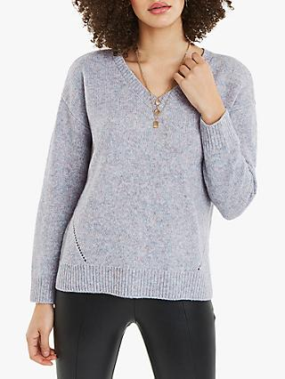 Oasis Shanie V-Neck Jumper, Multi Grey
