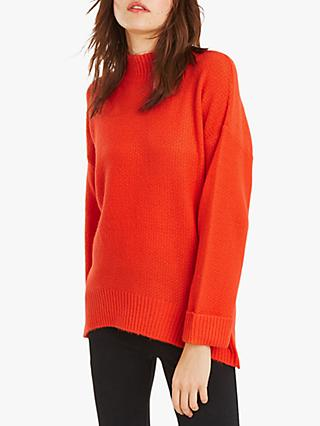Oasis Briella Turtle Neck Oversized Jumper, Bright Orange