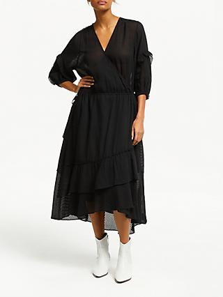 AND/OR Roxy Wrap Over Sheer Stripe Dress