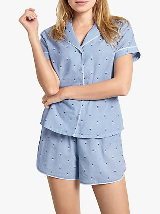 hush Chambray Cotton Pineapple Pyjama Set, Blue