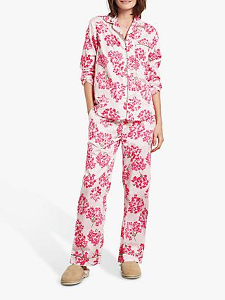 hush Hydrangea Cotton Pyjama Set, White/Pink