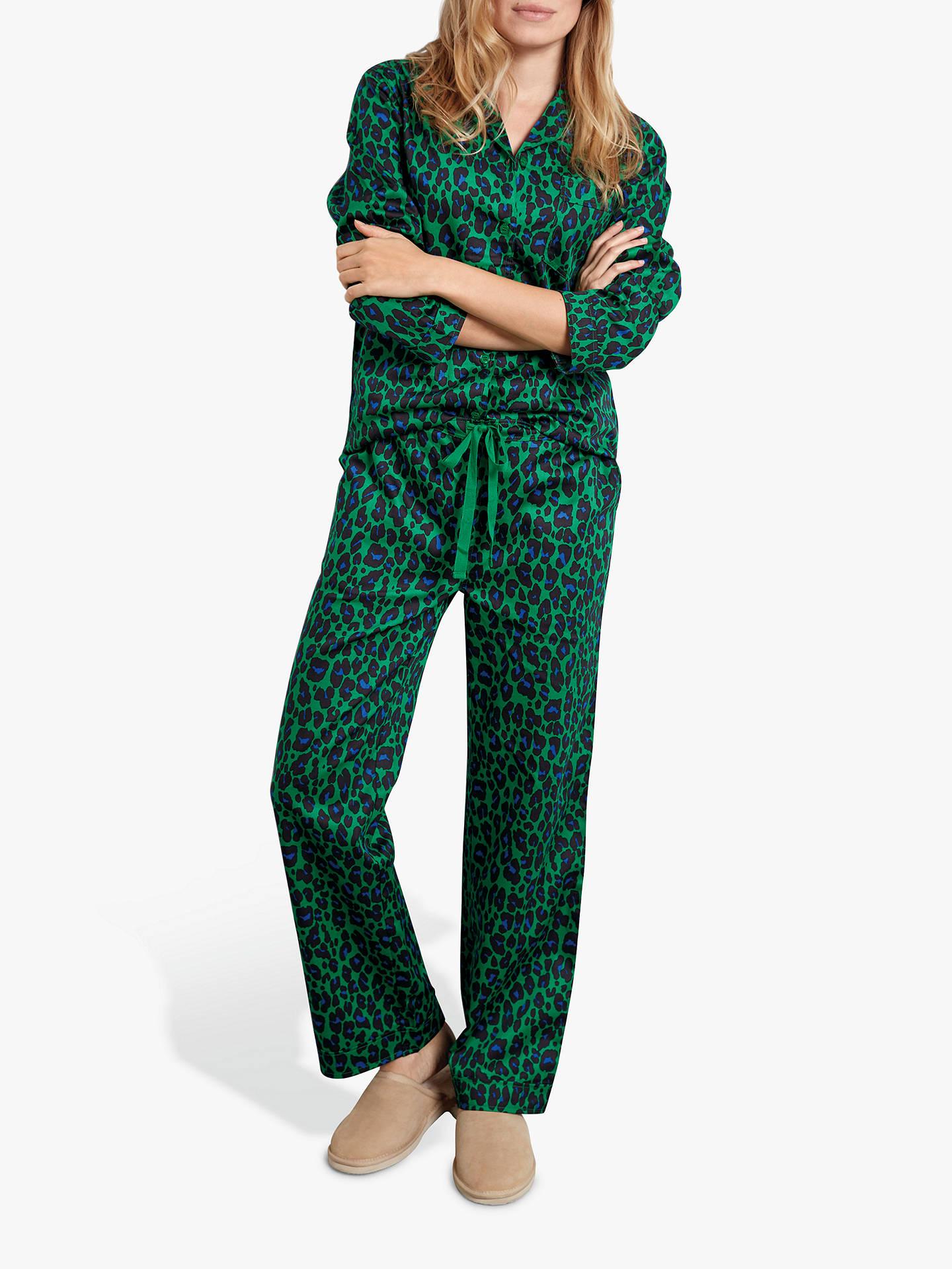 e61e030d5d3 Buy hush Bright Leopard Print Cotton Pyjama Set, Green/Blue, XS Online at  ...