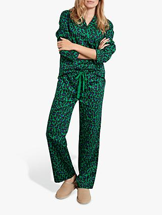 hush Bright Leopard Print Cotton Pyjama Set, Green/Black