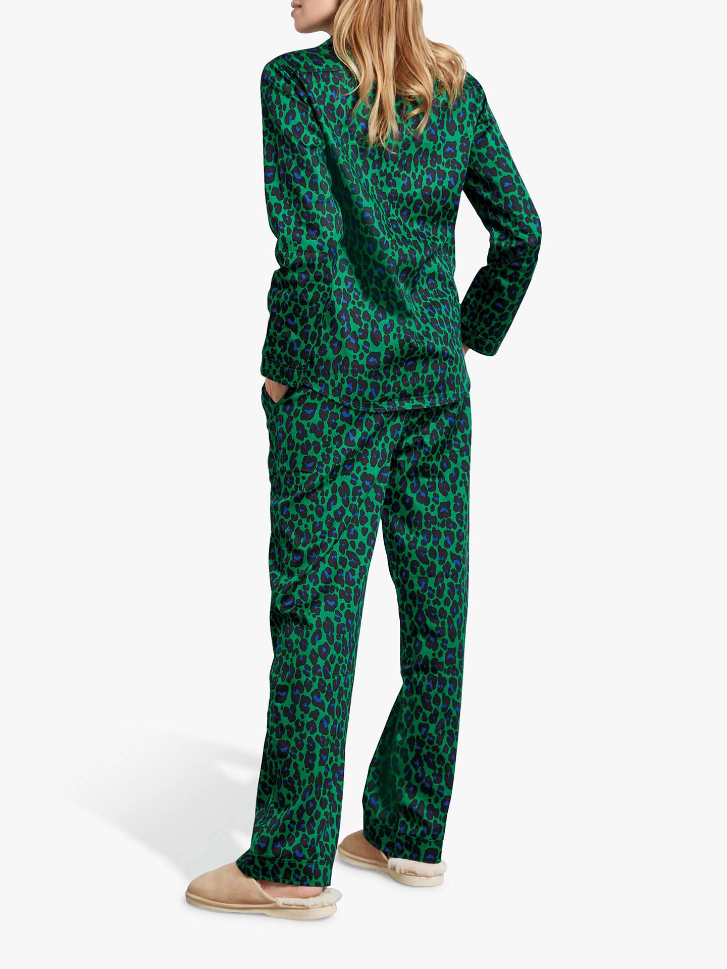 08a70ea5419 ... Buy hush Bright Leopard Print Cotton Pyjama Set, Green/Blue, XS Online  at ...