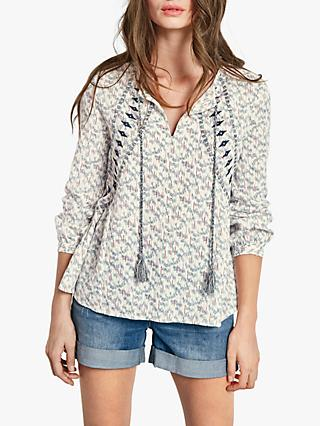 hush Embroidered Top, White/Blue