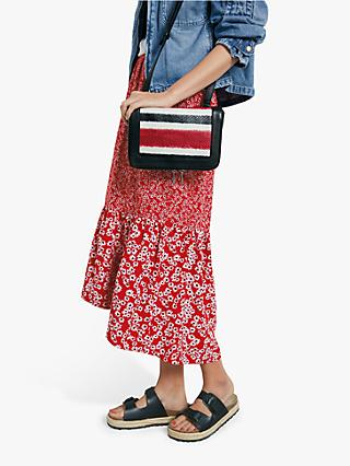 hush Veria Frilly Daisy Print Midi Skirt, Red