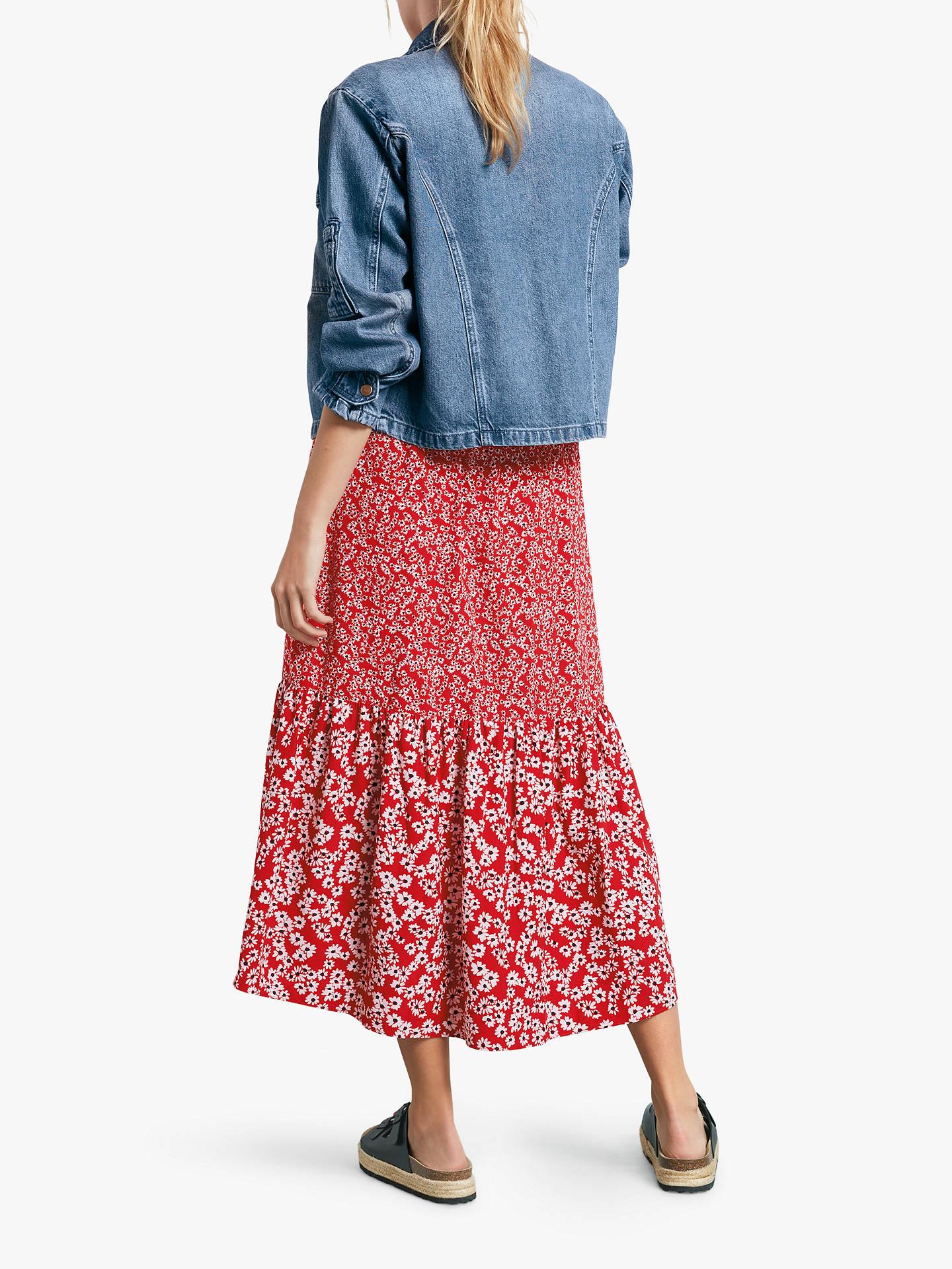 57c3974752 Buy hush Veria Frilly Daisy Print Midi Skirt, Red, 10 Online at johnlewis.