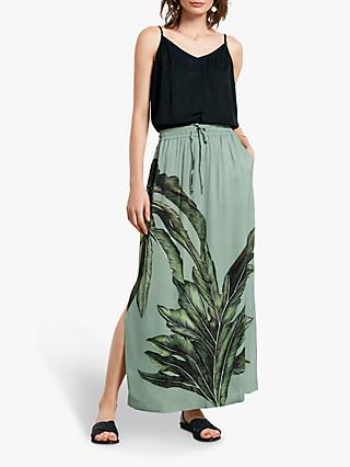 hush Aster Maxi Skirt, Palm Leaf Print