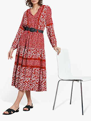 hush Floral Folk Daisy Print Dress, Red