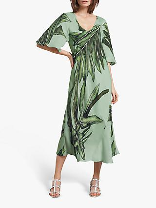 hush Aster Midi Dress, Palm Leaf Print
