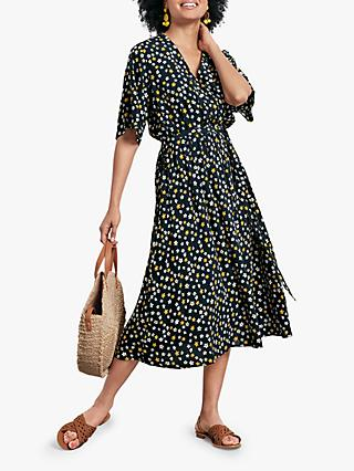 hush Lilium Daffodil Print Midi Dress, Navy/Yellow