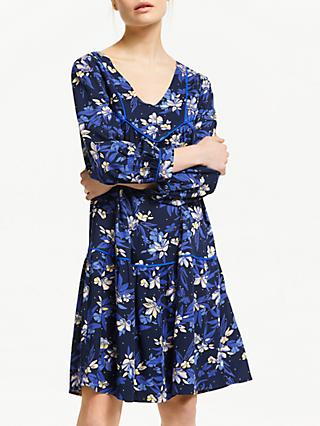 ARMEDANGELS Marthe Cap Sleeve Dispersed Flowers Dress, Dark Navy