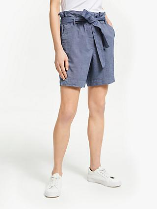 ARMEDANGELS Taabitha Tie Waist Chambray Shorts, Blue