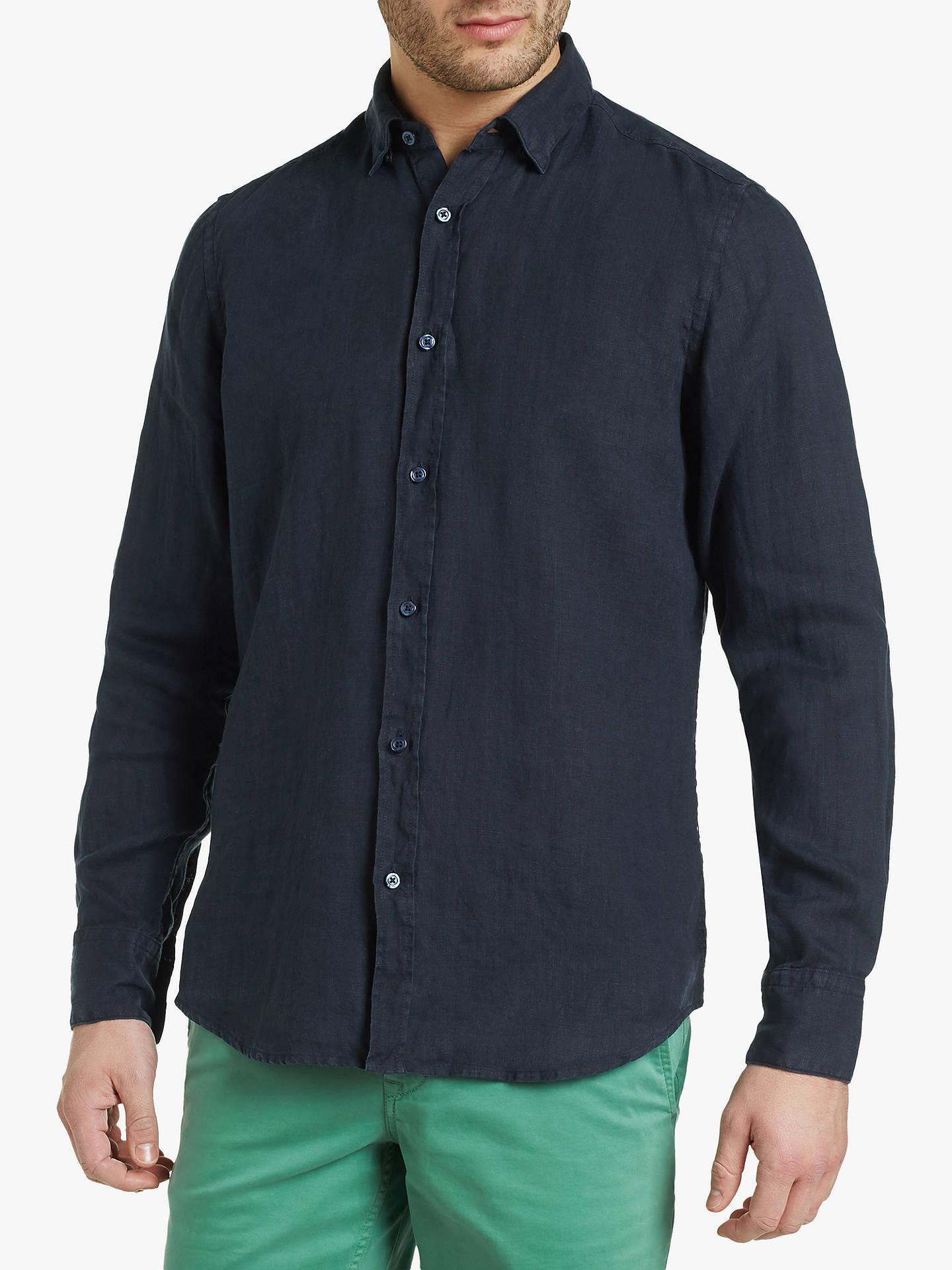7a8ab0adae29 Buy BOSS Regular Fit Long Sleeve Linen Shirt, Dark Blue, XL Online at  johnlewis ...