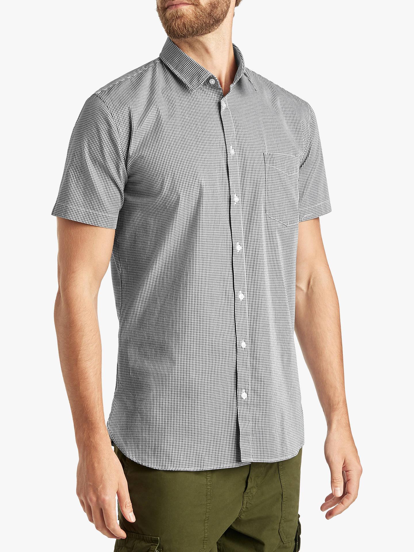 84b8aa7c5 Buy BOSS Magneton Short Sleeve Mini Check Shirt, Dark Blue, M Online at  johnlewis ...