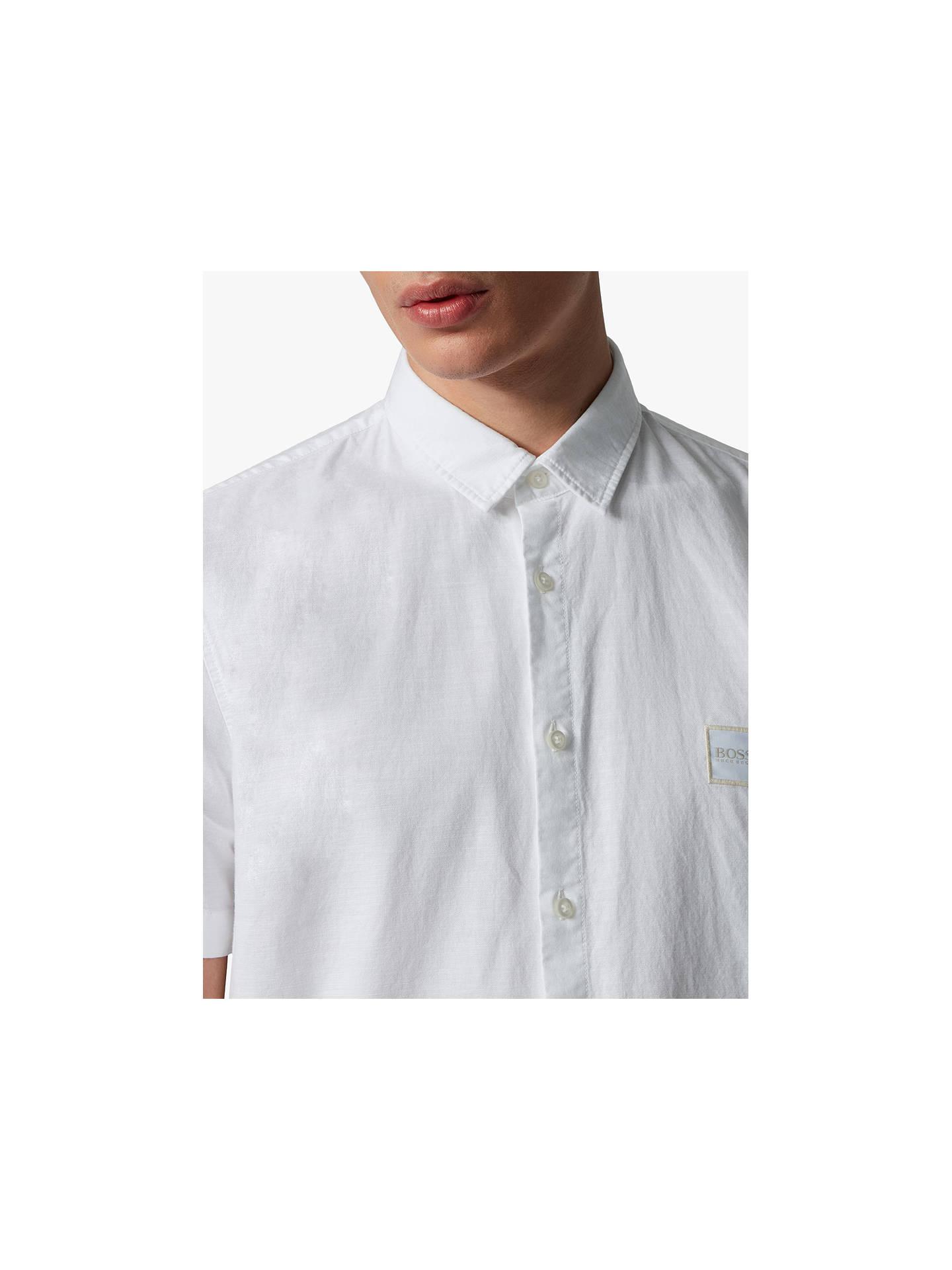 41c3a7173 Buy BOSS Magneton Short Sleeve Slim Fit Shirt, White, M Online at johnlewis.