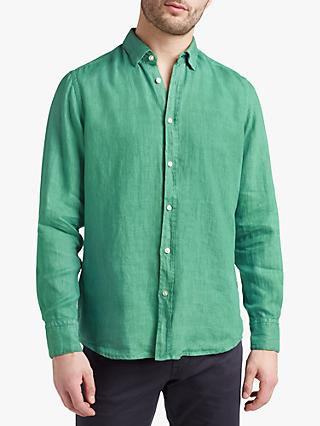 BOSS Relegant Linen Shirt, Open Green