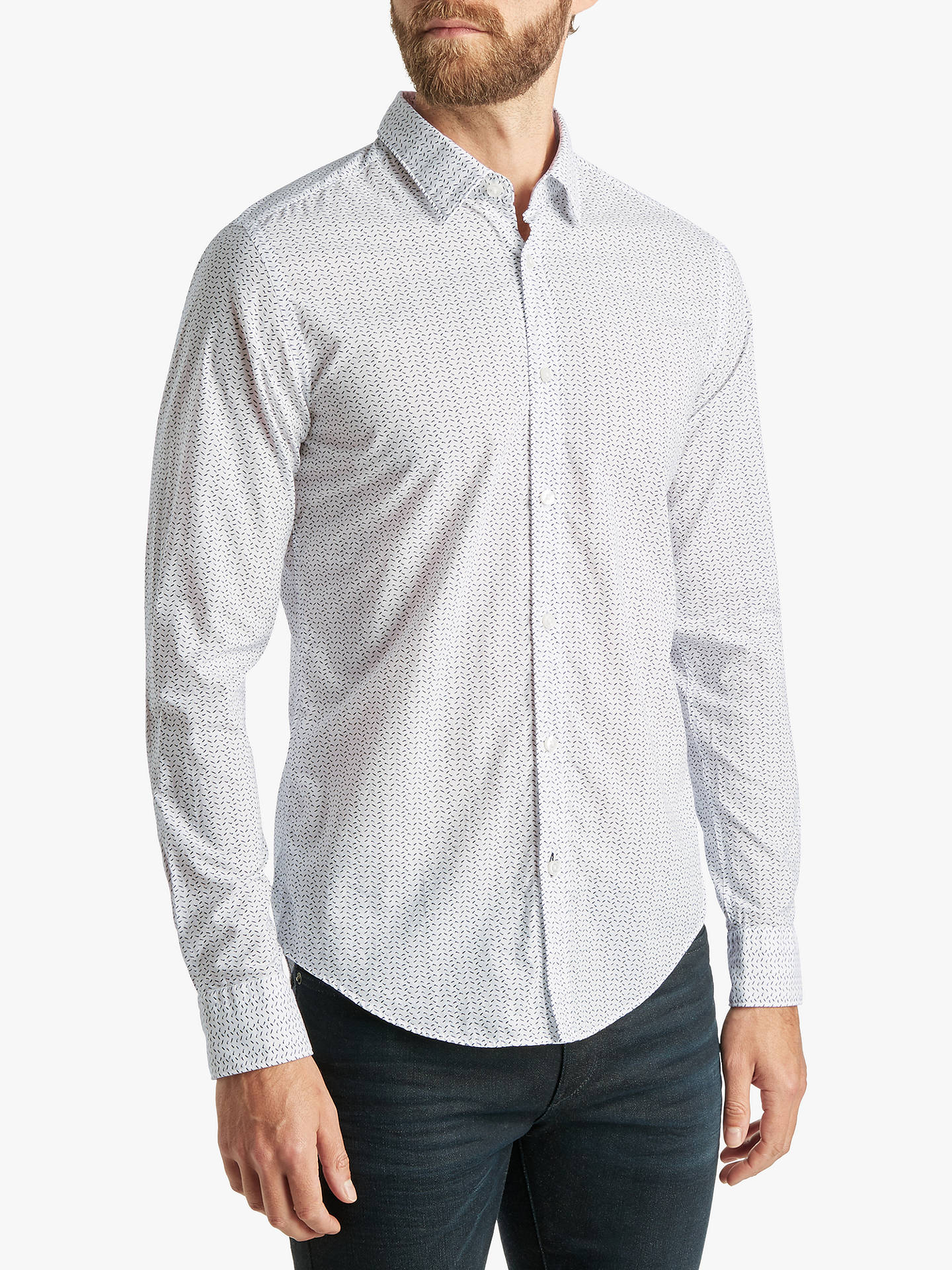724fbb57903 Buy BOSS Ronni Abstract Print Slim Fit Shirt, White, M Online at johnlewis.