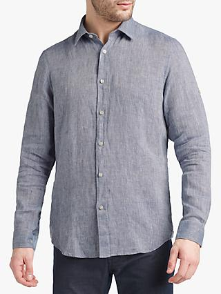 BOSS Lukas Linen Shirt, Open Blue