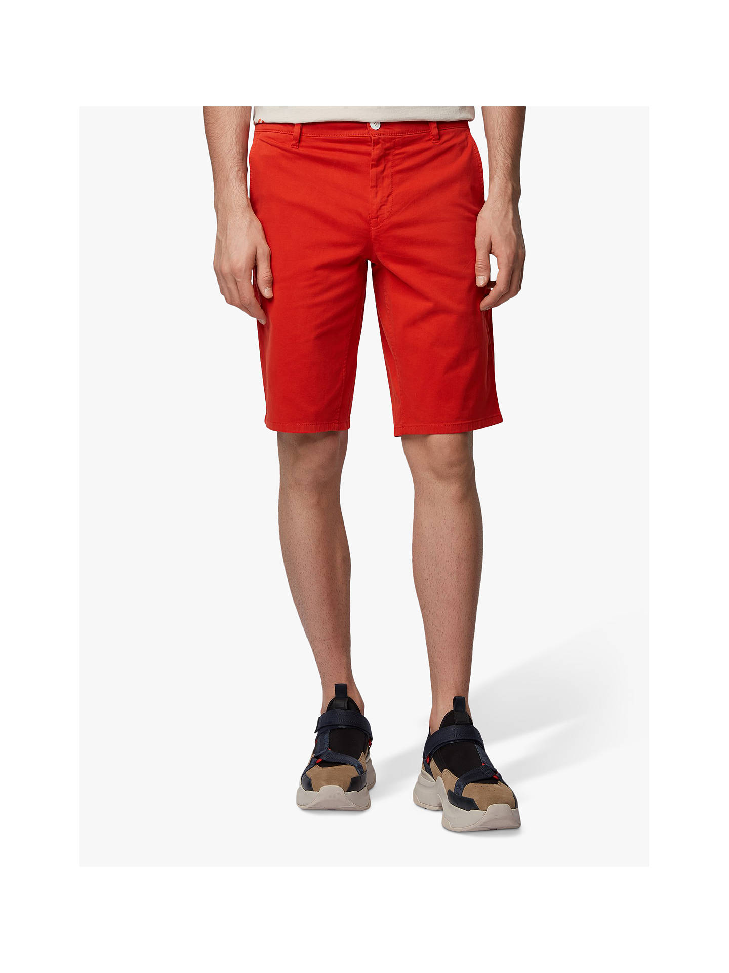 fcab4247 Buy BOSS Schino Slim Fit Chino Shorts, Dark Orange, 32R Online at johnlewis.
