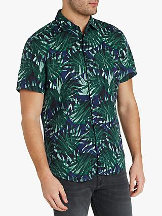 d97c7d9f0 BOSS Regular Fit Leaves Print Short Sleeve Shirt, Open Green