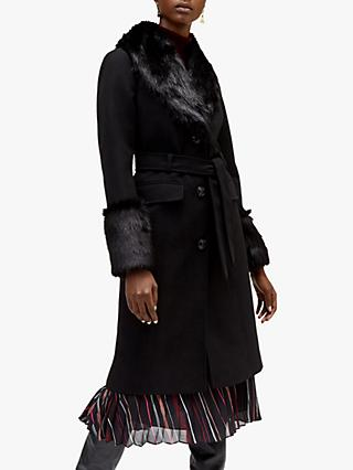 Warehouse Faux Fur Detail Coat, Black