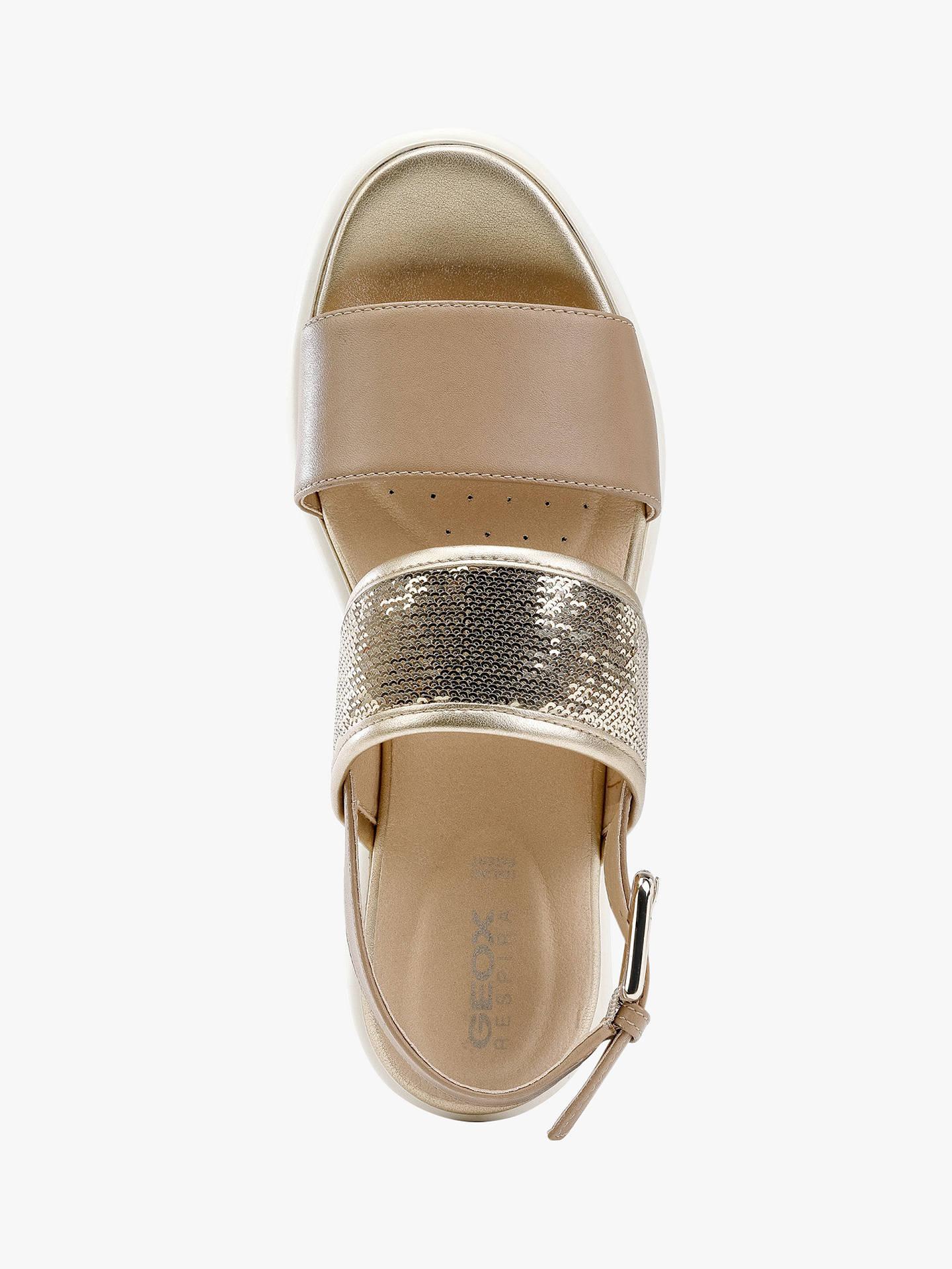 best cheap a602d 2eade Geox D Wimbley Double Strap Sandals, Taupe/Light Gold at ...