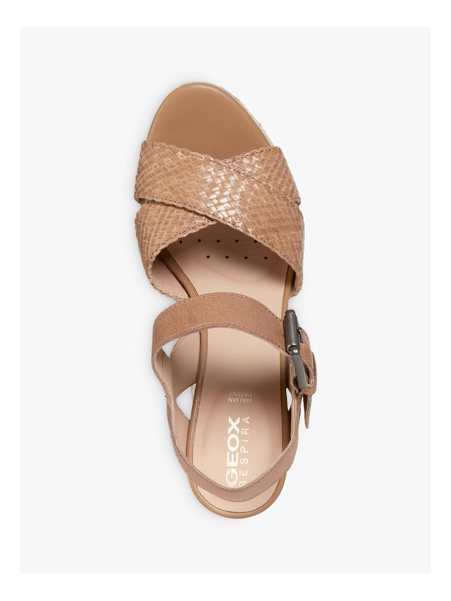 Buy Geox Women's Yulimar Wedge Heeled Sandals, Taupe Leather, 3 Online at johnlewis.com