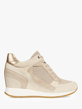 Geox Women's Nydame Wedge Heel Trainers, Cream Leather