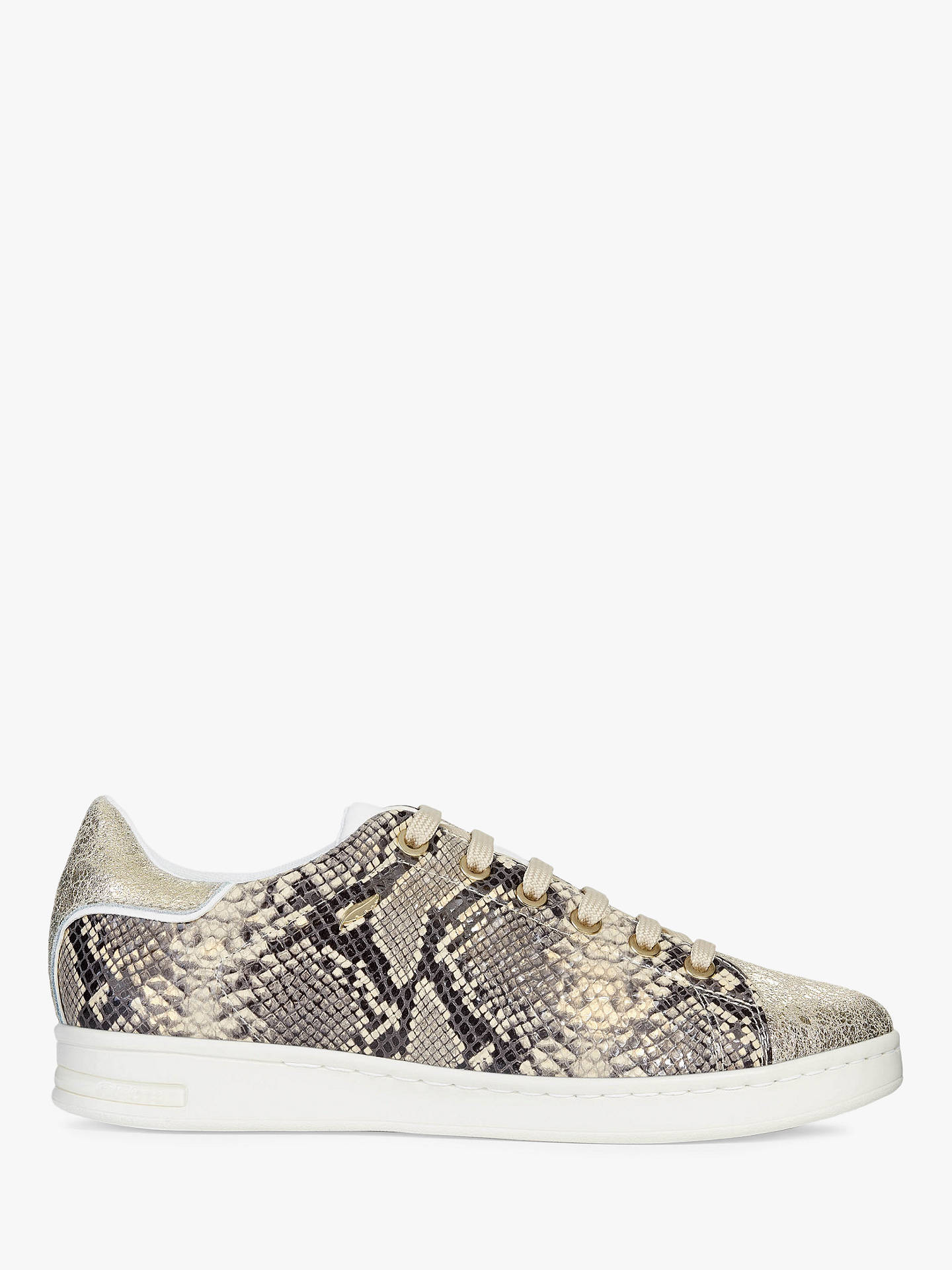 2de5233095a8 Buy Geox Women's Jaysen Animal Print Lace Up Trainers, Sand/Gold Leather, 3  ...