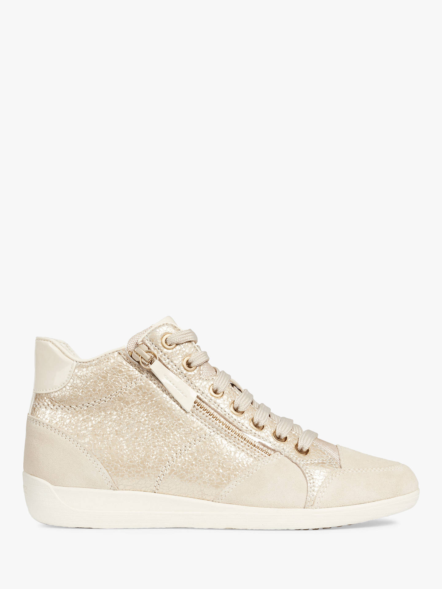 78454b55a04 Buy Geox Women's Myria High Top Lace Up Trainers, Gold/Cream Leather, 3 ...