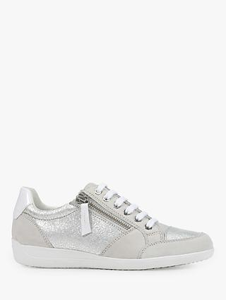 Geox Women's Myria Zip Detail Trainers, Silver/Off White Suede