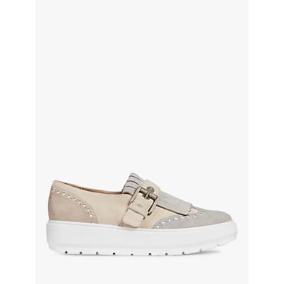 Geox Kaula Slip On Flatform Loafers, Cream/Light Grey Leather