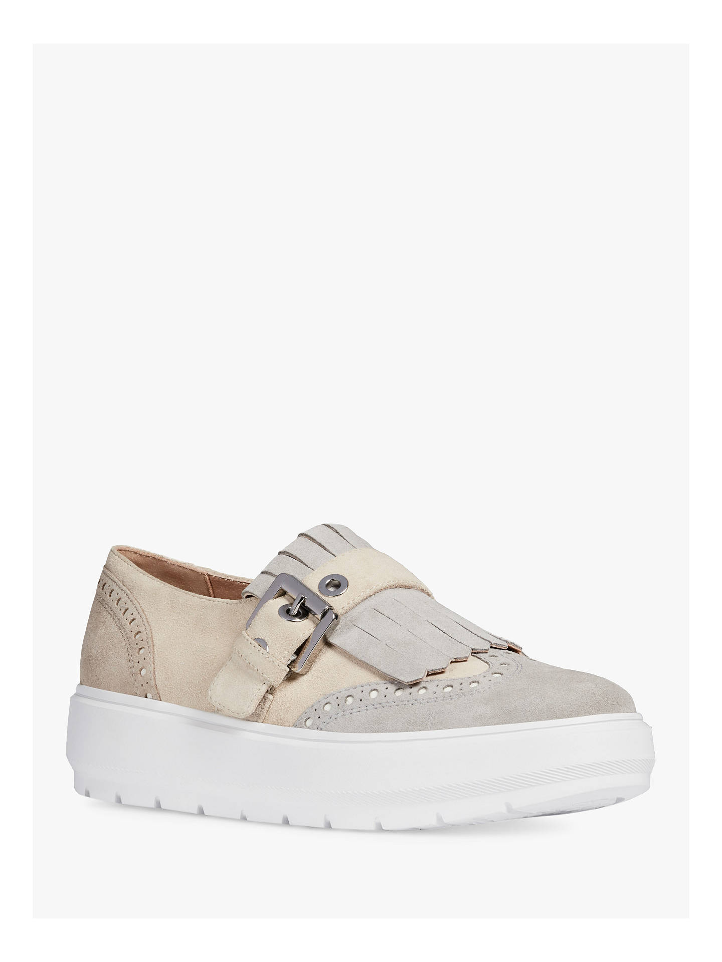 tarjeta Comorama Egipto  Geox Kaula Slip On Flatform Loafers, Cream/Light Grey Leather at John Lewis  & Partners