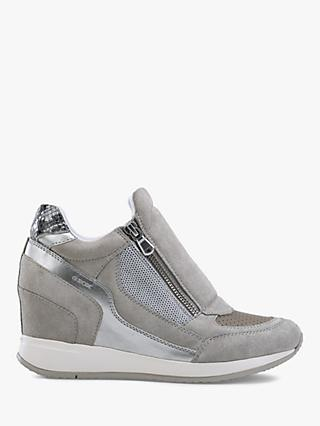 03698fd791a Geox Women's Nydame Wedge Heel Zip Up Trainers, Light Grey Leather